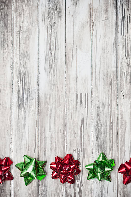Holidays: Red and Green Ribbon Border Background by Sean Locke for Stocksy United