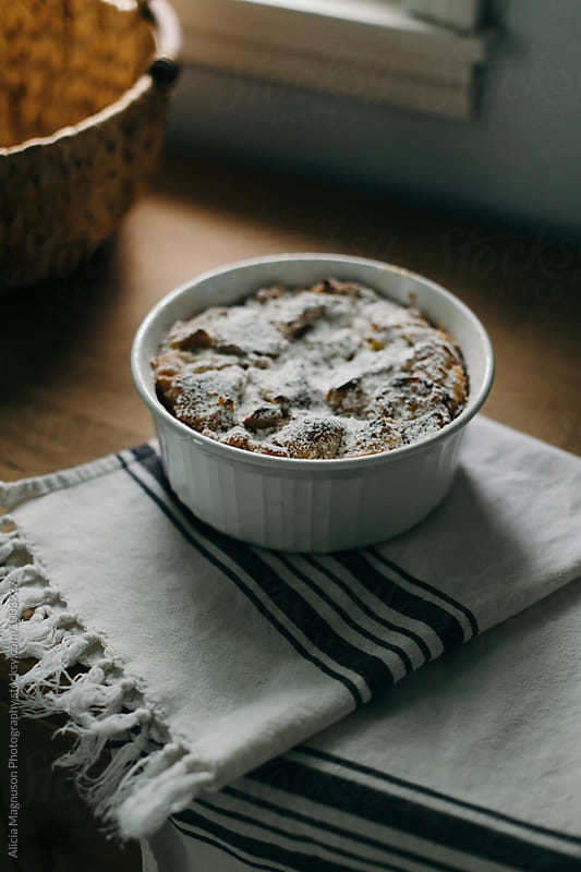 Baked Bread Pudding by Alicia Magnuson Photography for Stocksy United