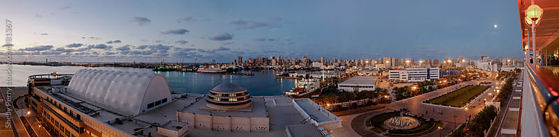 Sunset panorama of the port of Alexandria, Egypt  by Shelly Perry for Stocksy United