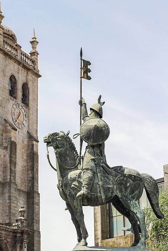 Statue of Vimara Peres and Porto Cathedral (Se do Porto) by Luca Pierro for Stocksy United