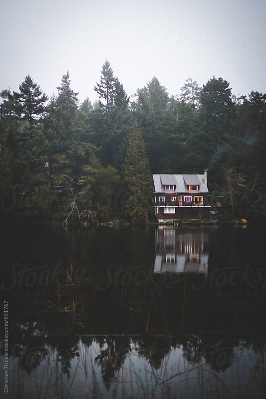 Beautiful house alone on the shore of a lake by Christian Tisdale for Stocksy United