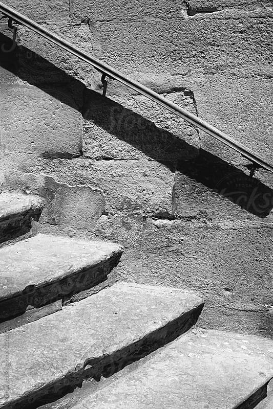 Old stairs in b&w by Marcel for Stocksy United