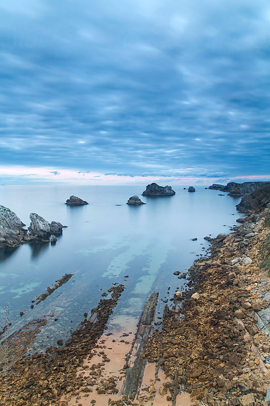 View from a rocky cliff in Spanish coast, Cantabria by Marilar Irastorza for Stocksy United