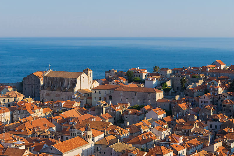 Dubrovnik, Croatia - Elevated View of the Old Town and the Adriatic Sea by Tom Uhlenberg for Stocksy United