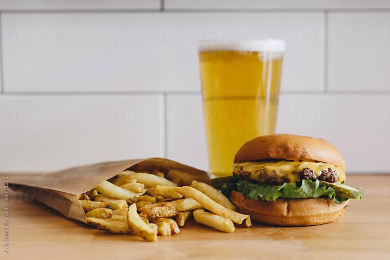 Burgers, Fries & Beer by Ania Boniecka for Stocksy United