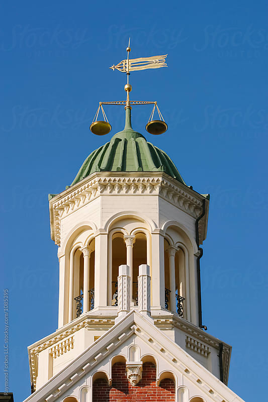 Scale of Justice on Courthouse Cupola  by Raymond Forbes LLC for Stocksy United