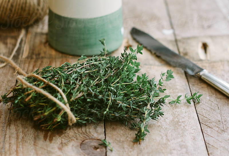 Fresh Thyme on a wooden table by Helen Rushbrook for Stocksy United