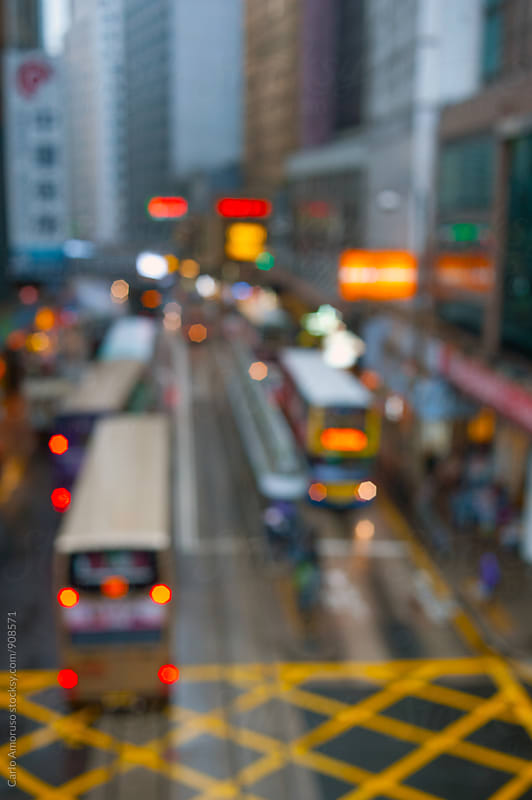 Hong Kong Blurred  Cityscape by Carlo Amoruso for Stocksy United
