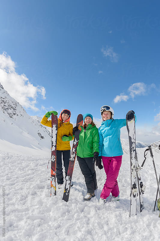 Female friends on ski vacation by RG&B Images for Stocksy United