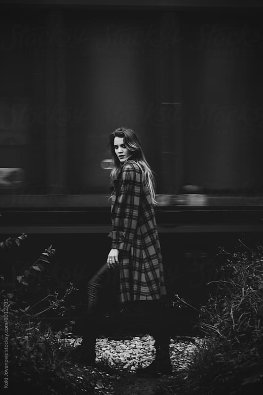 black and white portrait of a woman by Koki Jovanovic for Stocksy United