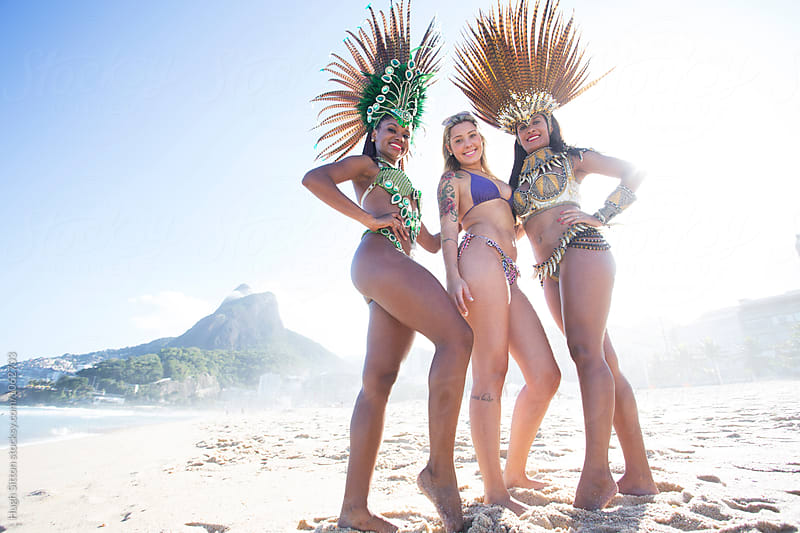 Samba dancers. Ipanema Beach. Rio de Janeiro. Brazil. by Hugh Sitton for Stocksy United