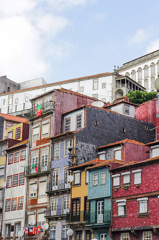 Colored Houses in Porto, Portugal  by Luca Pierro for Stocksy United