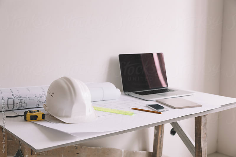 working place of architect on construction site by Alexey Kuzma for Stocksy United