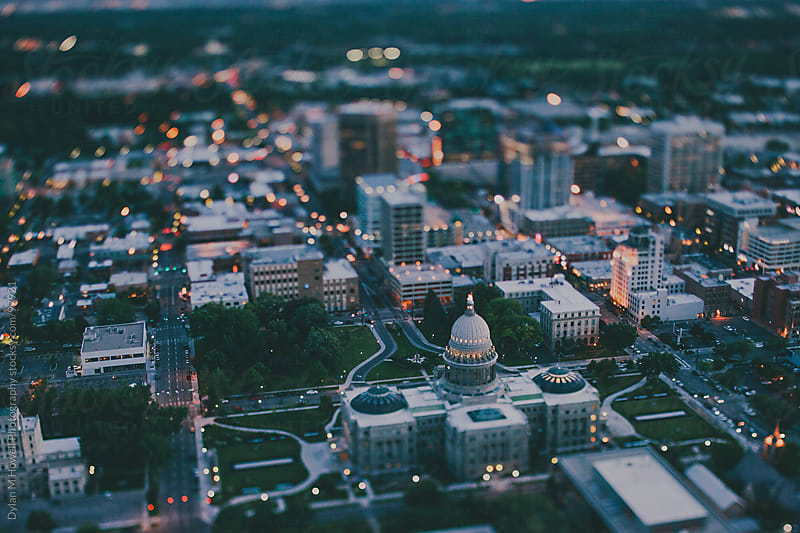 Boise Capitol Building by helicopter by Dylan M Howell Photography for Stocksy United