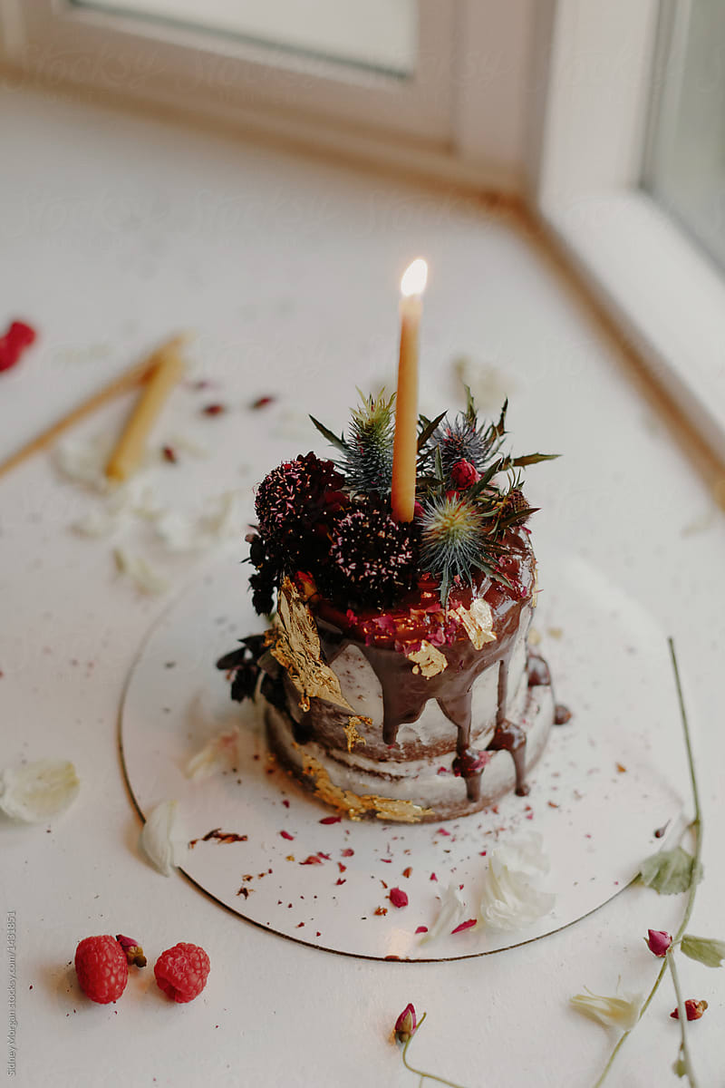 Awe Inspiring Small Birthday Cake With Flowers And A Candle By Sidney Morgan Funny Birthday Cards Online Elaedamsfinfo