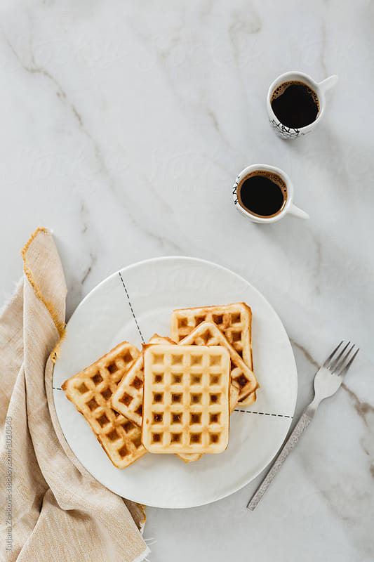 Waffles with coffee by Tatjana Zlatkovic for Stocksy United