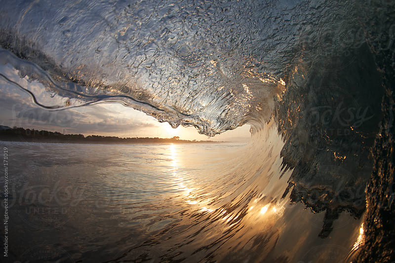 Hollow wave breaking in the tropics with sunrise by Melchior van Nigtevecht for Stocksy United