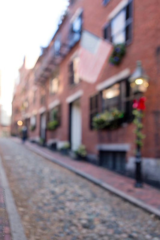 Soft-focus of cobblestone street  by Kim Lucian for Stocksy United