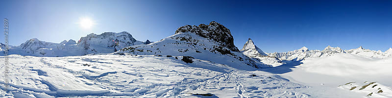 Panorama from Riffelsee in Winter by Peter Wey for Stocksy United