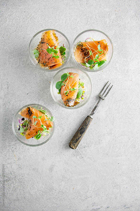 Smoked salmon gravadlax appetizers. by Darren Muir for Stocksy United