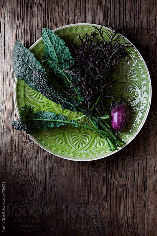 Lacinato kale, mizuna lettace and a single purple eggplant by Nadine Greeff for Stocksy United