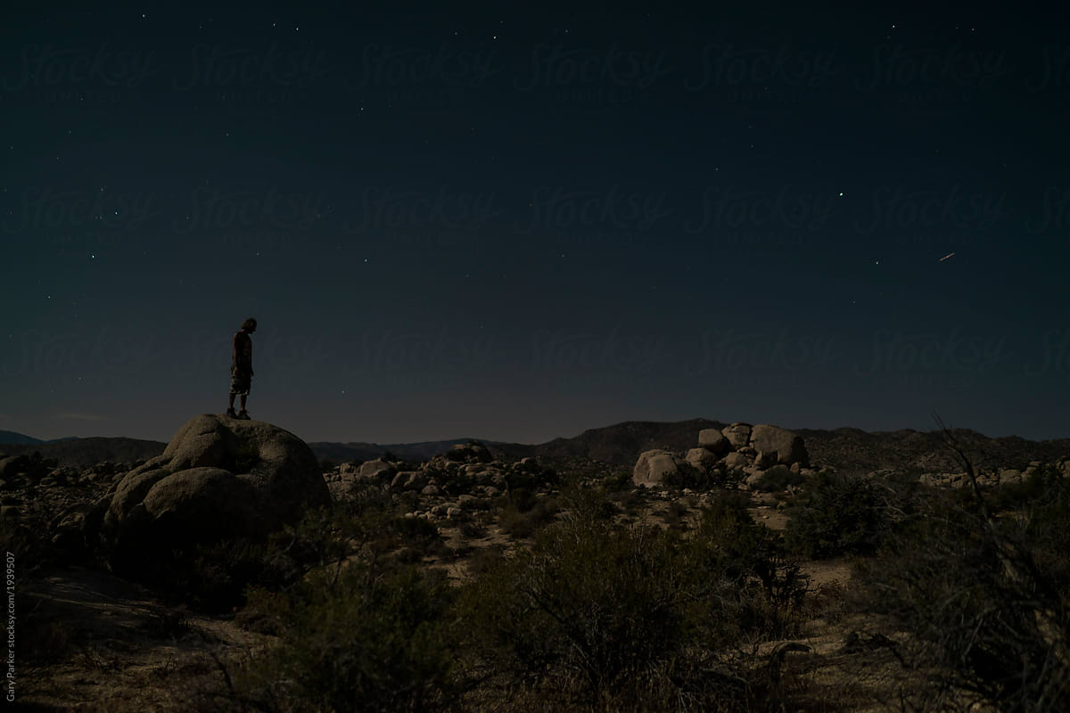 A Young Man Sitting Under The Night Sky In Joshua Tree