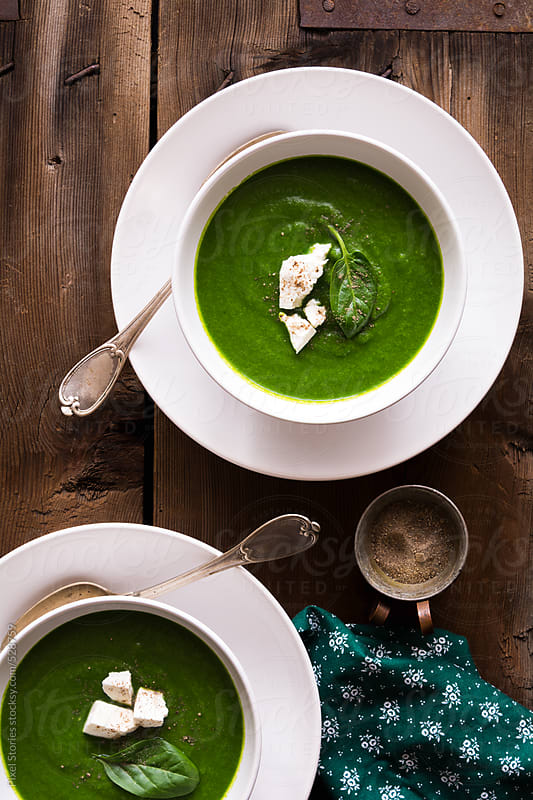 Food: spinach and broccoli soup by Pixel Stories for Stocksy United