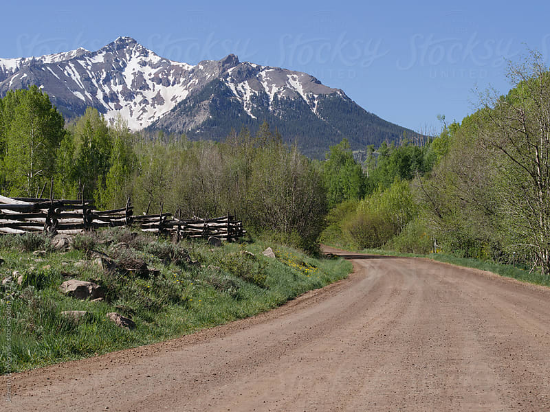 Dirt road through forest leading to snow capped mountains. by Jeremy Pawlowski for Stocksy United