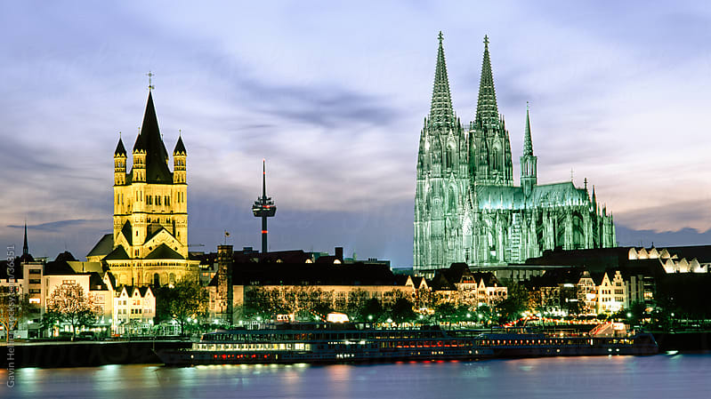 The Cathedral (Dom) and River Rhine, Cologne (Koln), North Rhine Westphalia, (Nordrhein-Westfalen), Germany, Europe  by Gavin Hellier for Stocksy United