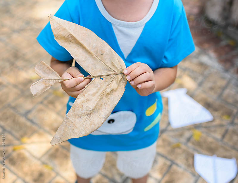 Kid playing dried leaf as airplane by Lawren Lu for Stocksy United