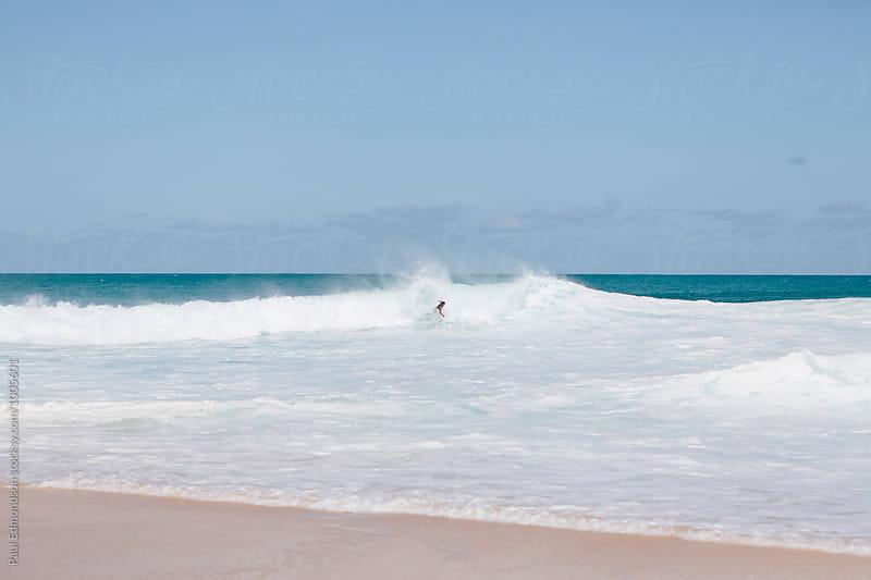 Man bodysurfing in breaking wave, North Shore, Oahu, Hawaii by Paul Edmondson for Stocksy United