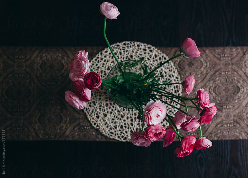 From Above View Of Pink Ranunculus Flowers In Vase by Kelli Seeger Kim for Stocksy United