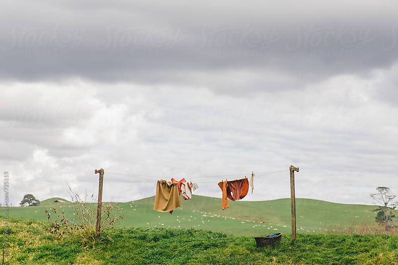 Clothesline at green field by Andrey Pavlov for Stocksy United