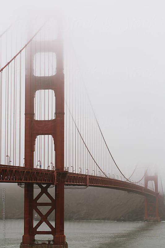View of Golden Gate Bridge in the mist by michela ravasio for Stocksy United