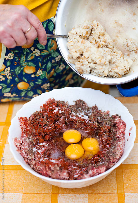 Ingredients for meatballs by Emoke Szabo for Stocksy United