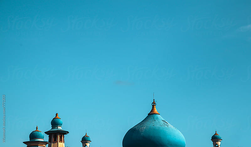 Top blue dome of a small countryside mosque in Lombok, Indonesia by Wizemark for Stocksy United