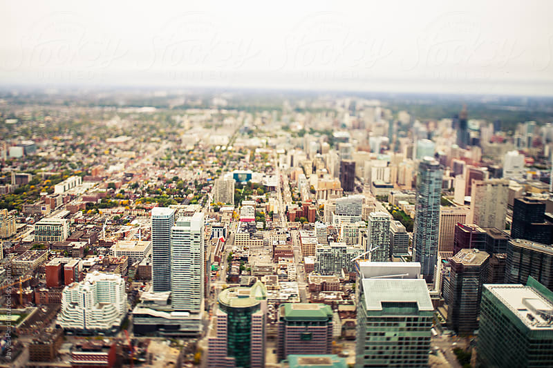 Aerial view of skyscrapers Toronto by Javier Pardina for Stocksy United