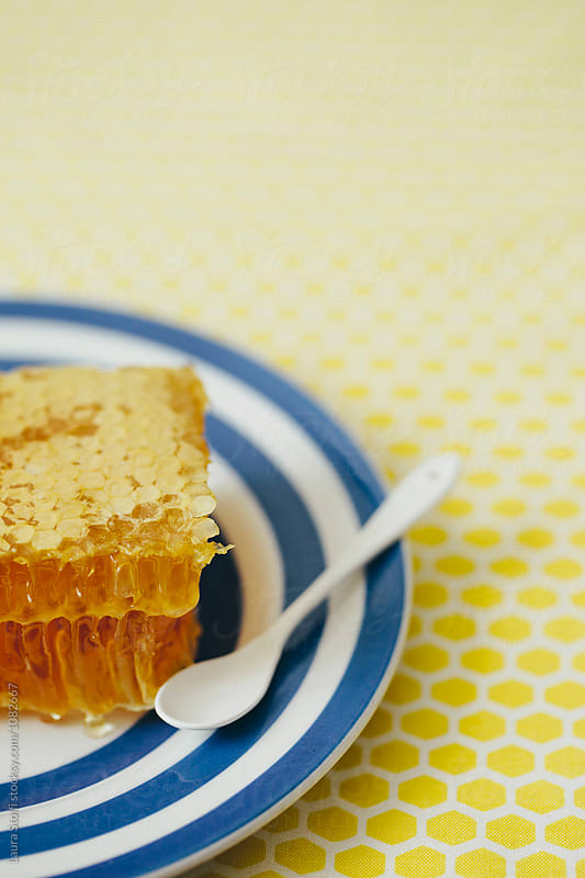 Honeycomb on striped plate with enamel spoon by Laura Stolfi for Stocksy United