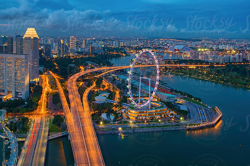 Aerial view of Marina Bay , Singapore by Jacobs Chong for Stocksy United