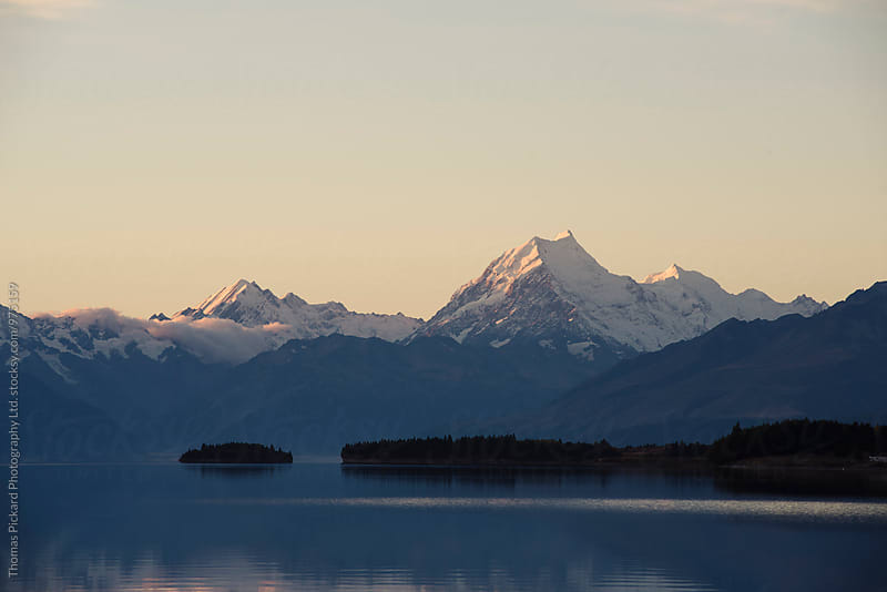 Aoraki / Mt Cook at dusk as seen across Lake Pukaki, New Zealand. by Thomas Pickard Photography Ltd. for Stocksy United