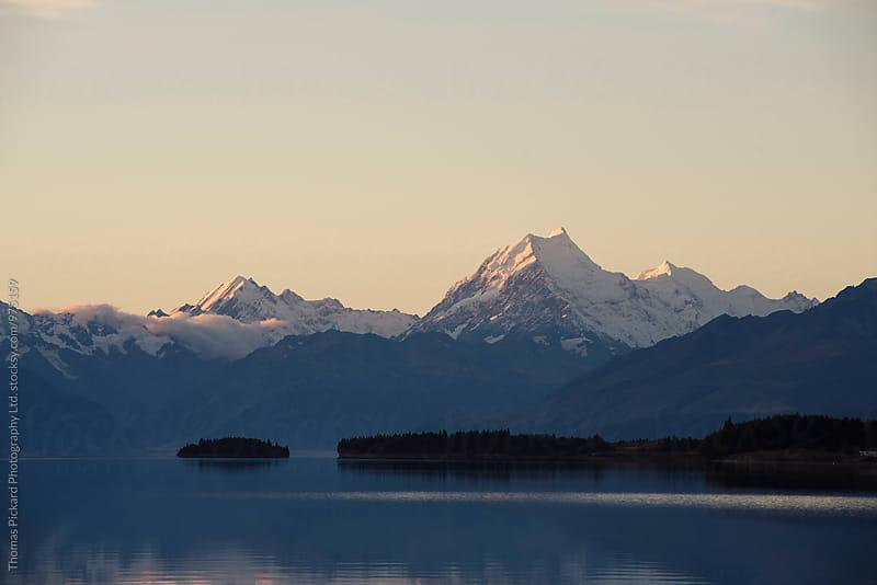 Aoraki / Mt Cook at dusk as seen across Lake Pukaki, New Zealand. by Thomas Pickard for Stocksy United