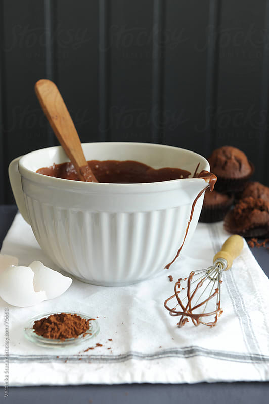Chocolate batter in a bowl by Veronika Studer for Stocksy United