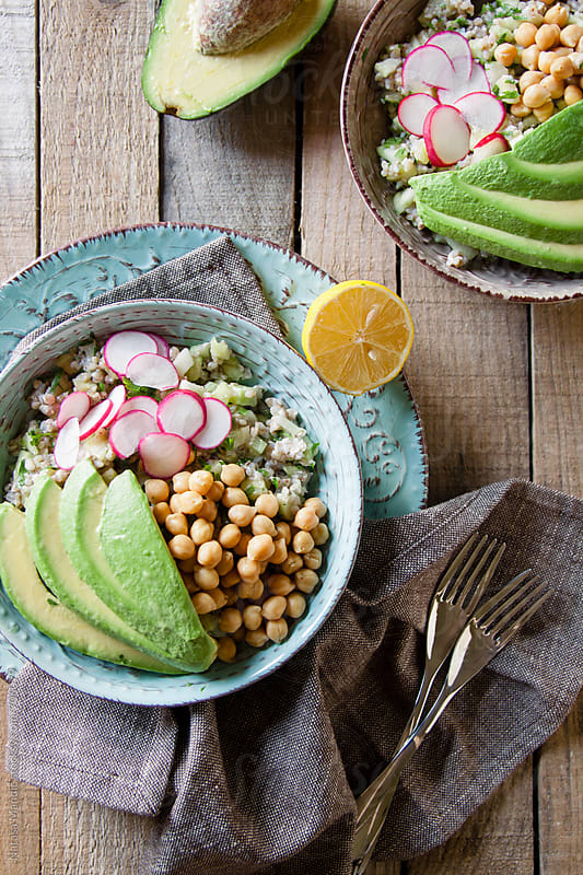 Tabbouleh with buckwheat, avocado and chickpeas by Nataša Mandić for Stocksy United
