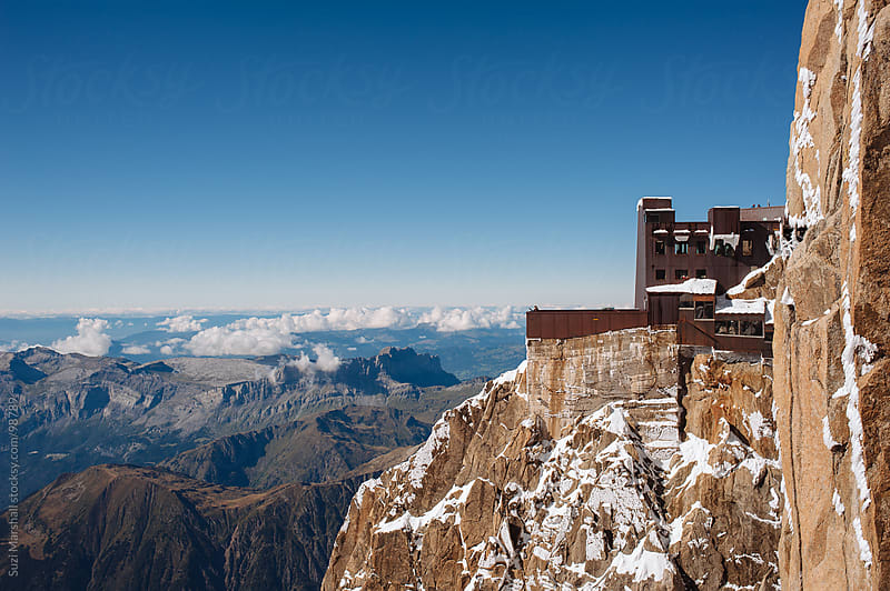 Upper station viewpoint at Aiguille du Midi in the Mont Blanc Massif mountain range by Suzi Marshall for Stocksy United