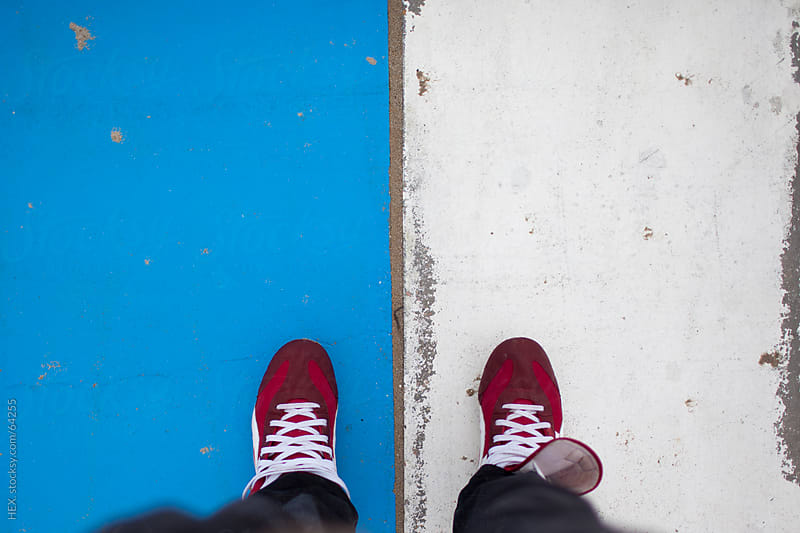 Red Shoes on Blue and White Background by HEX . for Stocksy United