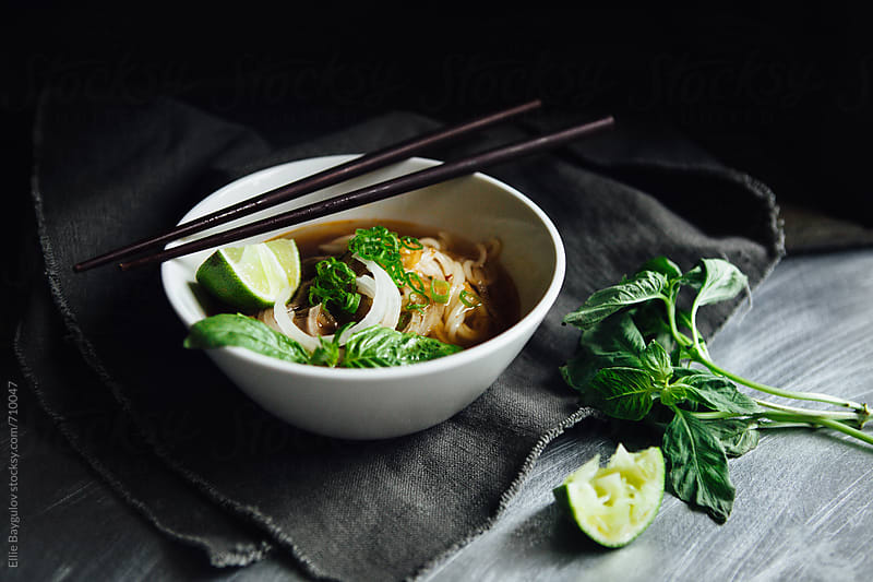 Bowl of Bon Bo Hue by Ellie Baygulov for Stocksy United