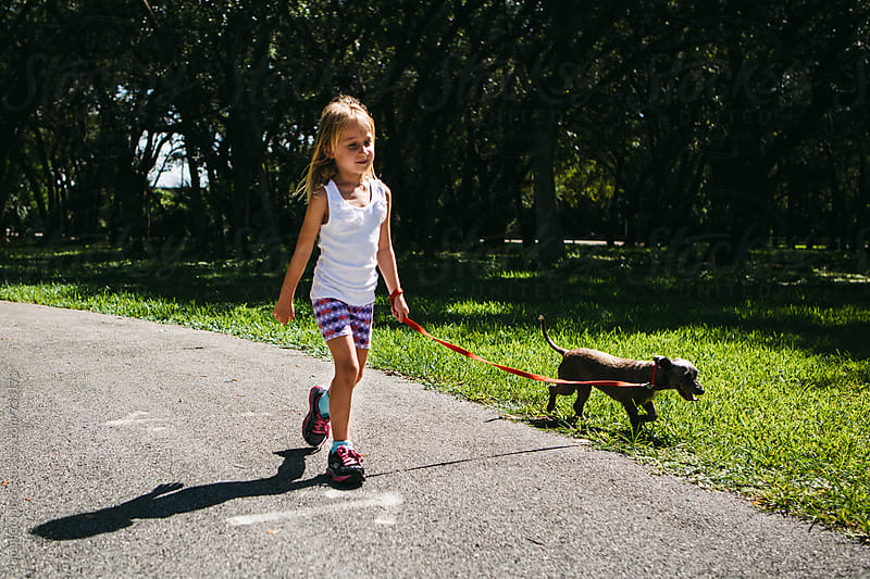 Little Girl Walking a Dog by Stephen Morris for Stocksy United