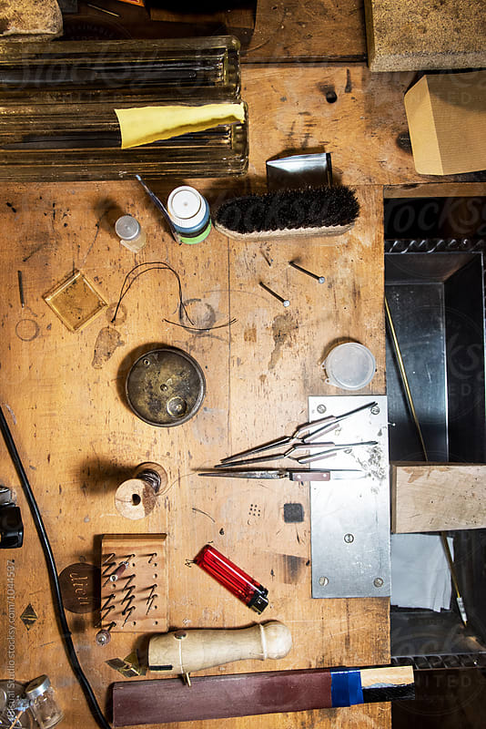 Tools of a jeweler at his workshop by Bisual Studio for Stocksy United