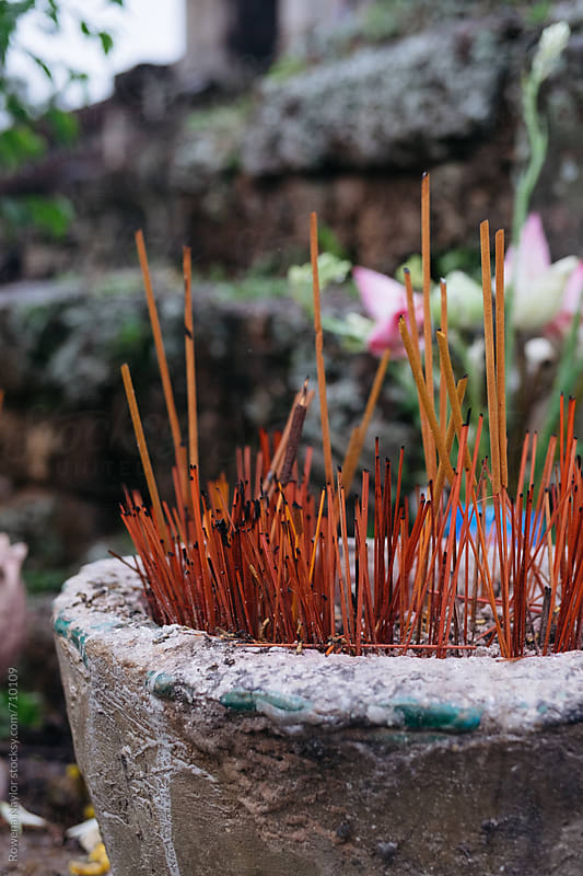 Traditional Incense sticks lit as an offering to Buddha by Rowena Naylor for Stocksy United