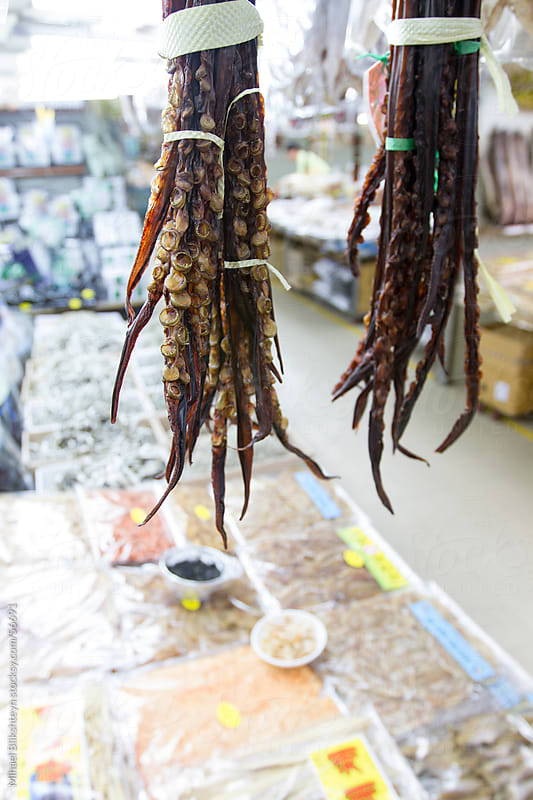 Dried octopus arms for sale at Asian fish market by Mihael Blikshteyn for Stocksy United